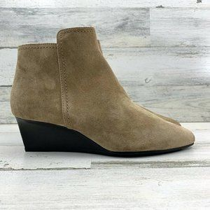 TOD'S Light Tobacco Suede Gomma Wedge Ankle Boots